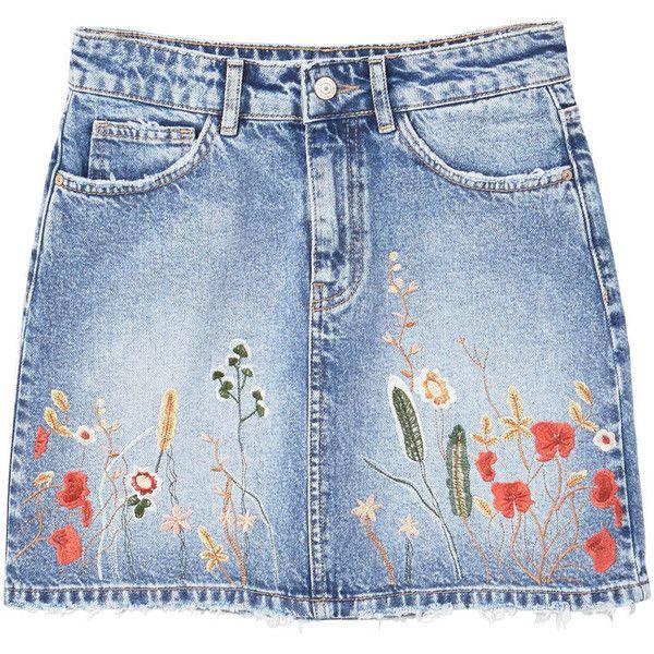 MANGO Embroidered denim skirt (€59) ❤ liked on Polyvore featuring skirts, blue skirt, embroidered skirt, mango skirts, blue denim skirt and knee length denim skirt