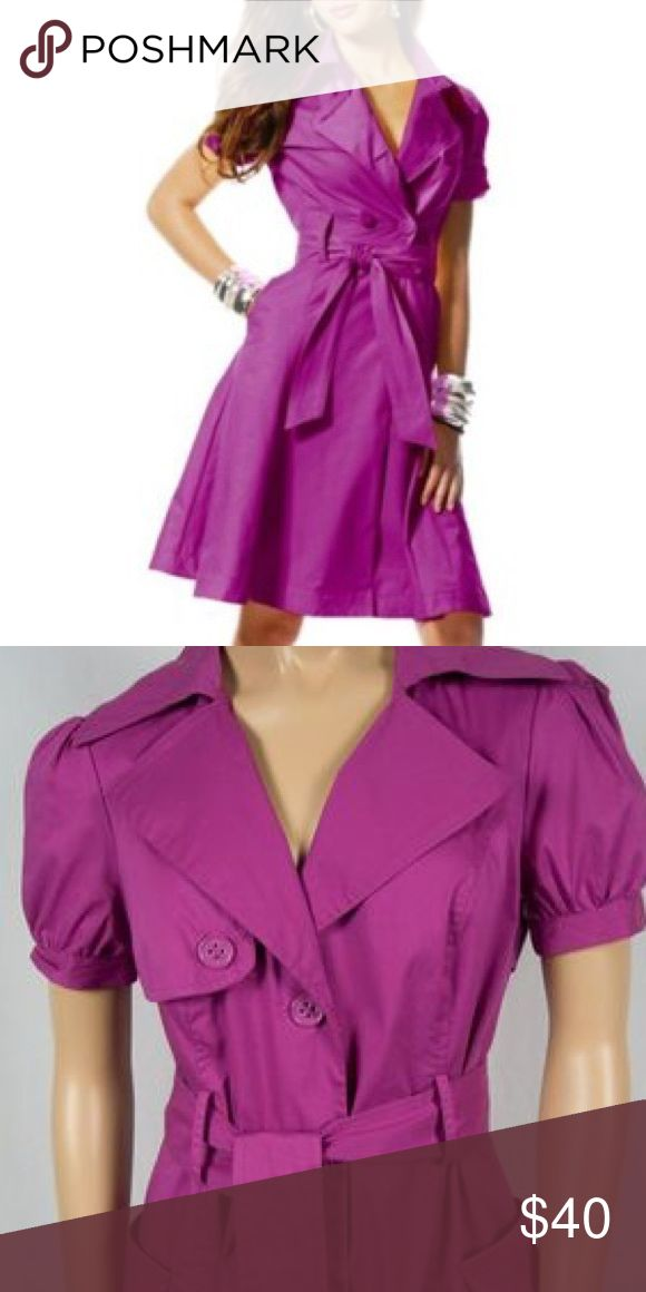 Bebe Purple Trench Coat This cute coat is in perfect condition! bebe Jackets & Coats