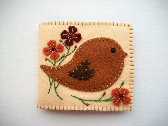 Sewing Needle Book Cream Felt Cover with Folk Art Bird and Felt Flowers Handsewn on Etsy, $24.63 CAD
