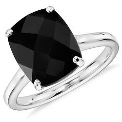 Black Onyx Cushion Cut Ring in 14k White Gold