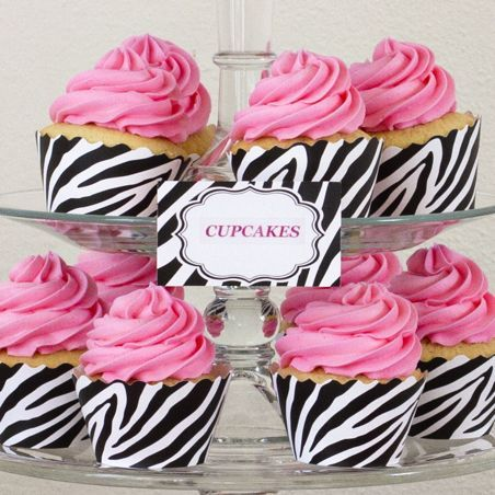 Zebra Print Cupcake Wrappers &  by Bella Cupcake Couture Placecards
