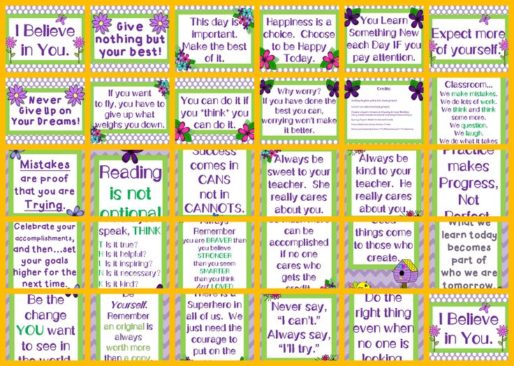 These 28 posters include inspirational messages to display in your classroom. They're designed with purple and green colors and floral accents.. Print, laminate, and display in a group for added punch and focus or project for a morning message to encourage your students.