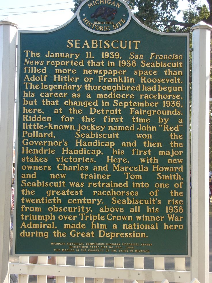 Seabiscuit Historical Marker at the Michigan State Fairgrounds in Detroit, MI