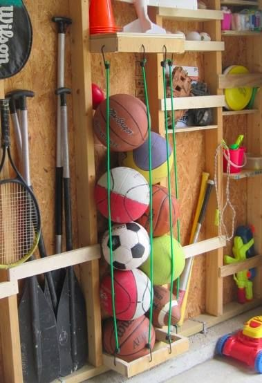Organizing Trick That Really Works to coral your sports equipment. Simple strategy for tackling clutter in your home. Great idea for use in a Derksen Storage Shed!