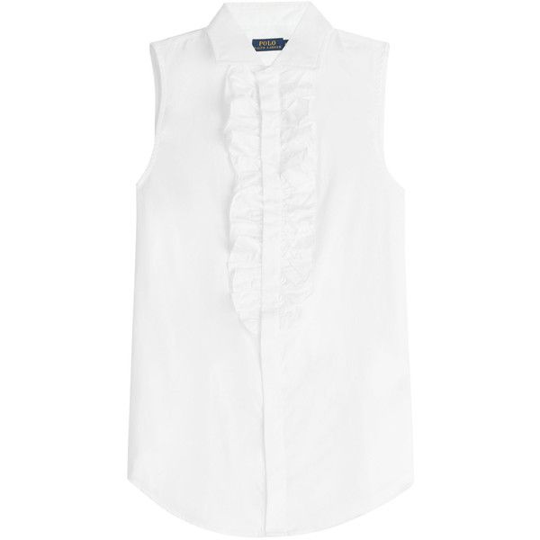 Ralph Lauren Polo Sleeveless Cotton Blouse (96 CAD) ❤ liked on Polyvore featuring tops, blouses, white, white blouses, sleeveless cotton blouse, white cotton tops, white button front blouse and button front blouse