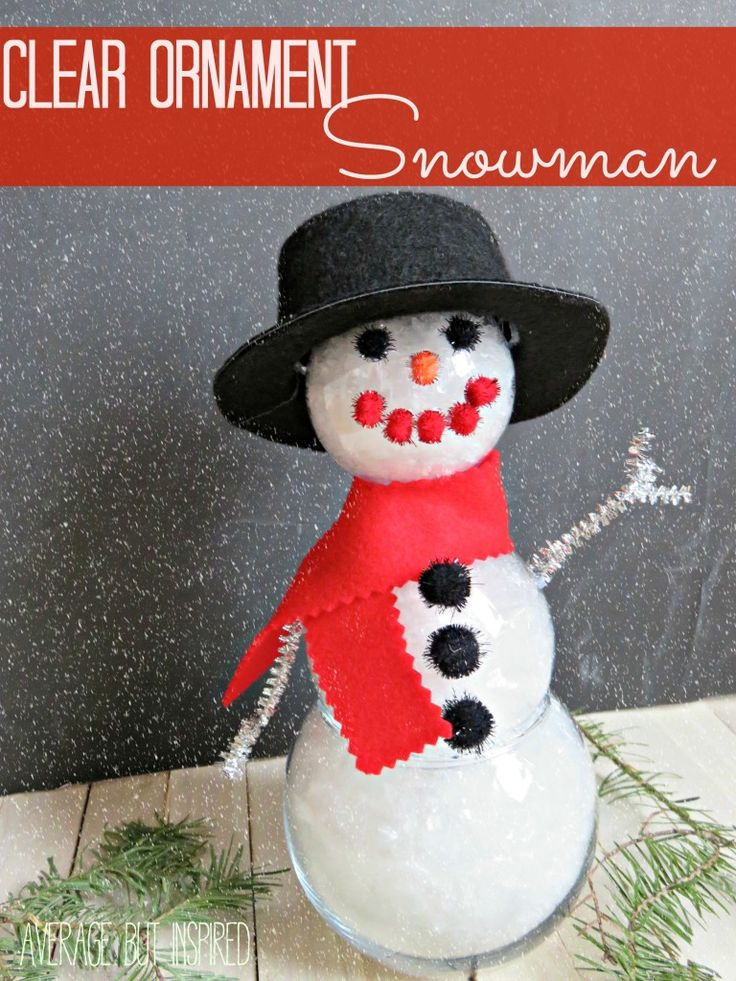 DIY Clear Ornament Snowman