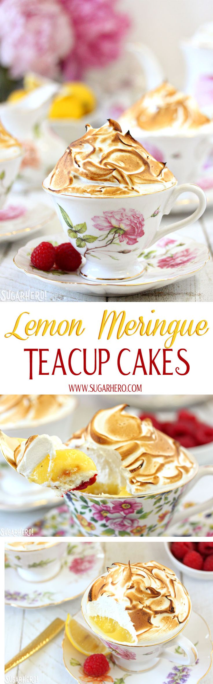 Lemon Meringue Teacup Cakes -lemon cupcakes baked right in teacups! These little cakes are gorgeous, and they taste great too! Filled with raspberry jam and lemon curd, and topped with a big pile of toasted meringue. | From SugarHero.com
