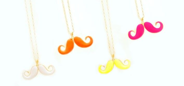 Double Curl Moustache Necklace for $10 - Choose from Multiple Colours - Tax Included
