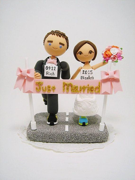 Marathon runners theme Custom wedding cake topper by Clayphory