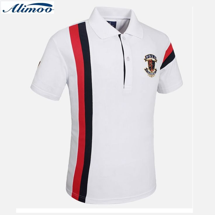 Alimoo New Patchwork Embroidery Men Polo Shirt Fashion Summer Slim Men's Polo Shirts Short Sleeve Leisure Camisa Tees M-3XL