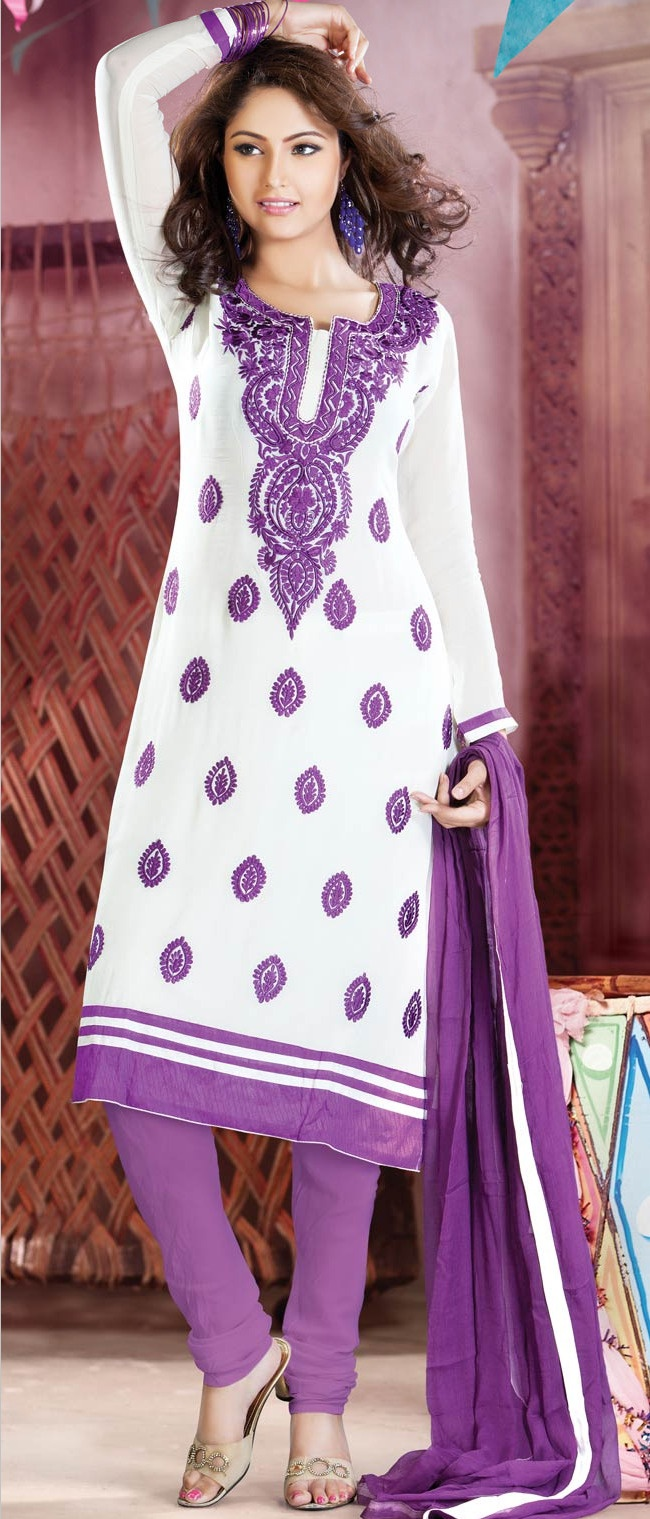 Off #White Georgette #Churidar #Kameez @ $71.16 | Shop @ http://www.utsavfashion.com/store/sarees-large.aspx?icode=kmu353
