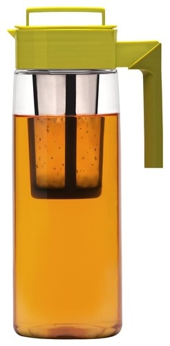 Takeya 64-Ounce Iced Tea Maker with Silicone Handle, Avocado/Olive modern serveware