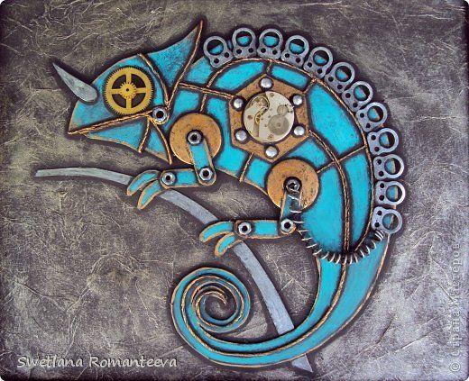 Картина панно рисунок Ассамбляж Хамелеон