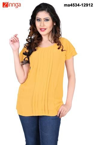 MAYLOZ E-COMMERCE-Women's Stylish Yelloew Color Georgette Top