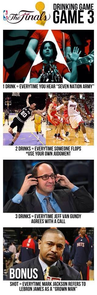 2014 NBA Finals Game 3 drinking game. This would be fun except it's a Tuesday and I'm 17 haha