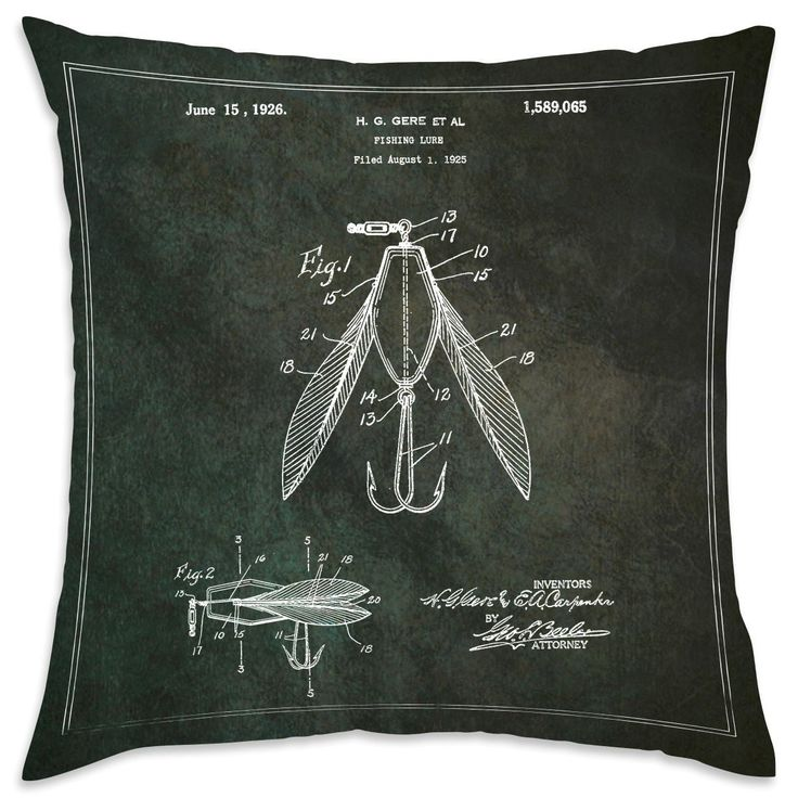 Oliver Gal 'Fishing Lure 1925' Decorative Throw Pillow