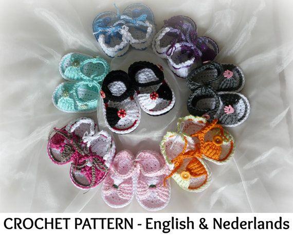 Engels  Nederlands Haakpatroon Baby Sandalen door ElodyKnitsforKids