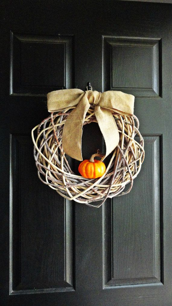 Fall Pumpkin Wreath Geometric Wreath by AnnabelleEveDesigns, $45.00