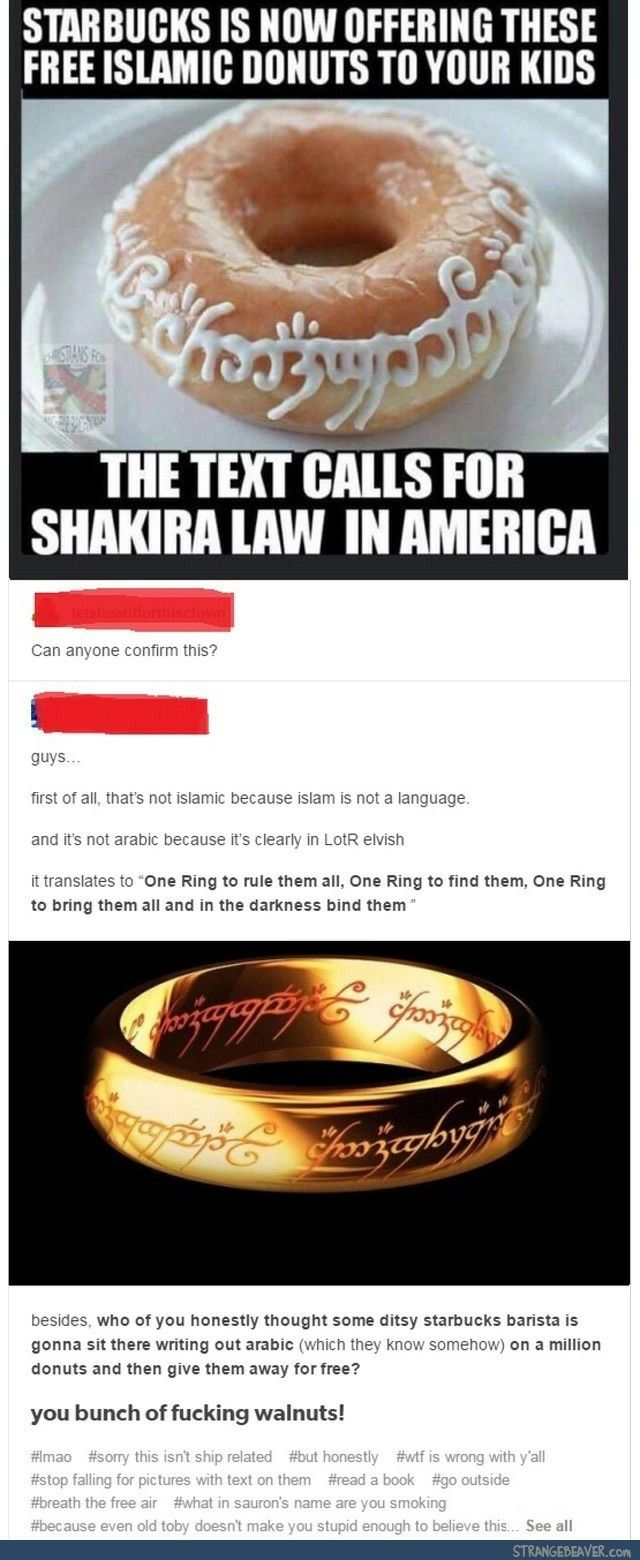 OMG even when I first saw the picture I was just thinking , LOTR! What? People thought it was Islamic???