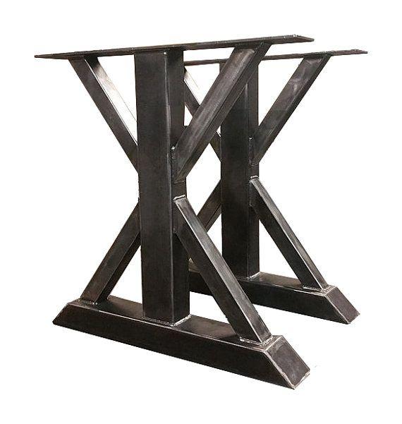 metal trestle table legs custom made box steel by butcher block dining