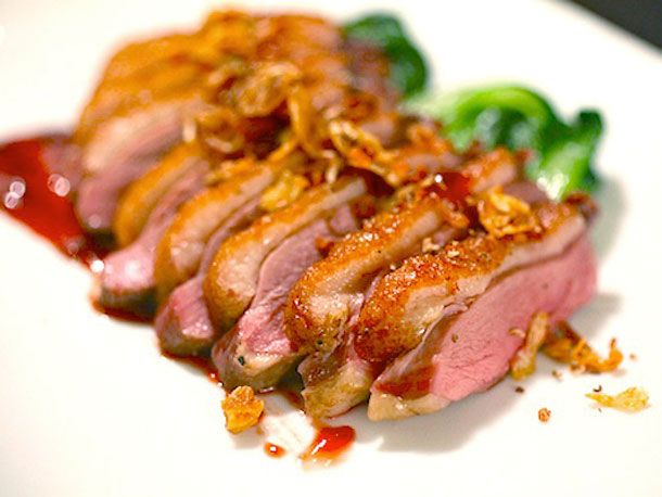 Crispy skin duck breast for Sunday Dinner - - - not exactly low cal, but oh so full of flavor