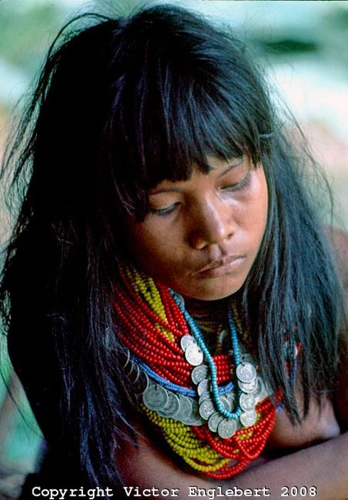 Colombia | Choco rain forest. Nooanama Indian girl. | ©  Victor Englebert 2008