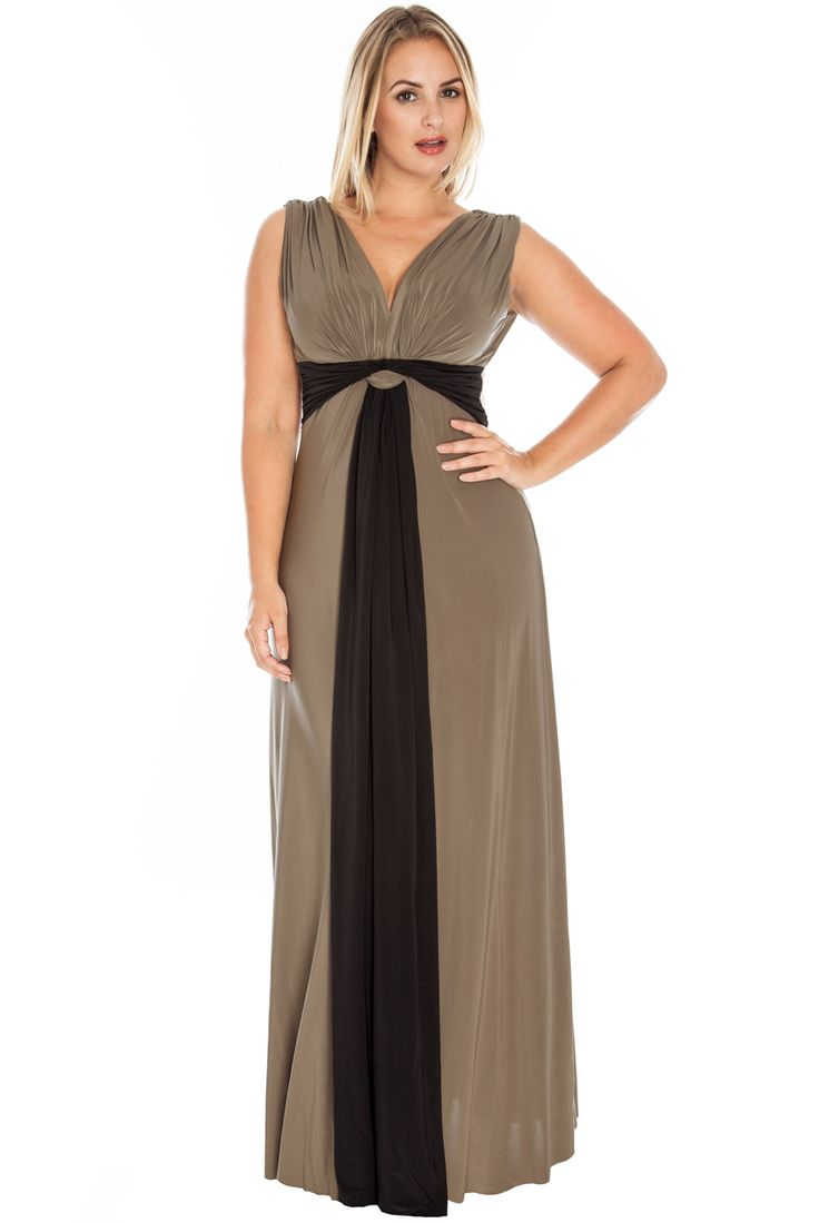Lily Maxi Dress http://www.curvety.com/dresses-c1/maxi-dresses-c6/curvety-lily-draped-grecian-maxi-dress-in-mocha-and-black-p526