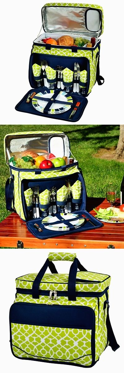 Stylish Trellis Green Motif Picnic Cooler for Four
