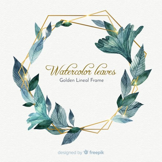 Download Lovely Watercolor Background With Frame Of Leaves For
