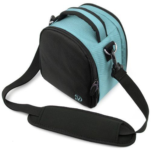 Laurel Compact Edition Sky Blue DSLR Camera Carrying Handbag with Removable Shoulder Strap for Canon EOS DSLR Camera Model EOS-600D / EOS Rebel T3i / EOS Kiss X5 / EOS-1100D EOS Rebel T3 / EOS Kiss X50 / EOS 550D / EOS Rebel T2i / EOS Kiss X4 / EOS 500D / EOS Rebel T1i / EOS Kiss X3 / Canon EOS 1000D / EOS Rebel XS / Kiss F Digital