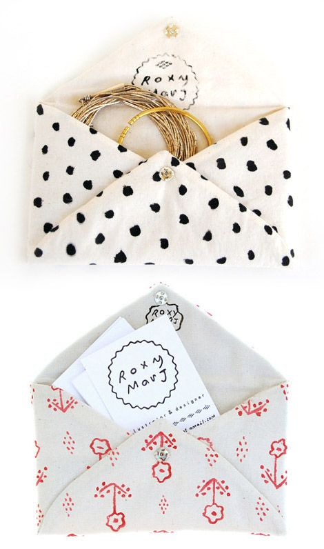 little pockets for sweet gifts: Handmade Pockets, Sweet Gifts, Bridesmaid Gifts, Diy Gifts, Gifts Wraps, Handmade Gifts, Roxy Marj, Fabrics Envelopes, Hands Made Gifts