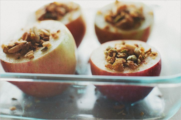 BAKED APPLES WITH SPICES + NUTS // Makes 4  Adapted from La Tartine Gourmande by Beatrice Peltre