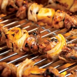 Caribbean Chicken & Pineapple Kebabs with Banana Salad Recipe- making this tonight YUM!