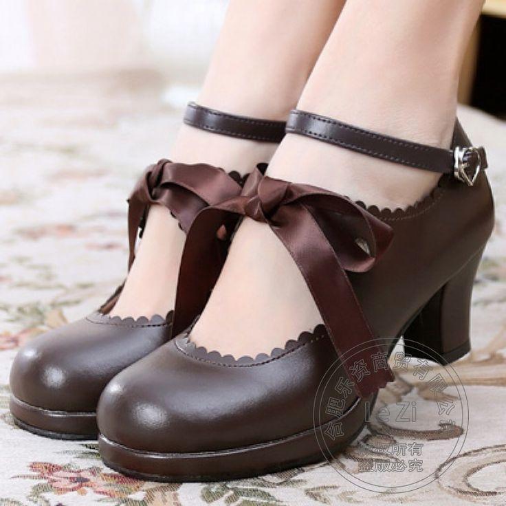 Knöchelriemen Pu Junge Gril Römischen Lolita Schuhe New Preppy stil Vintage Quadrat Ferse Schnalle Japanischen Stil Dicke Heels //Price: $US $52.75 & FREE Shipping //     #abendkleider