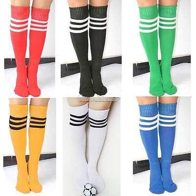 New Men Damen Gestreift Fußball Laufen  Knie Hoch Rohr Socken Sport SH