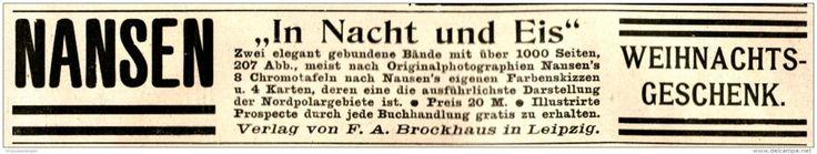 Original-Werbung/ Anzeige 1897 - NANSEN : IN NACHT UND EIS / VERLAG BROCKHAUS - LEIPZIG - ca. 190 x 35 mm