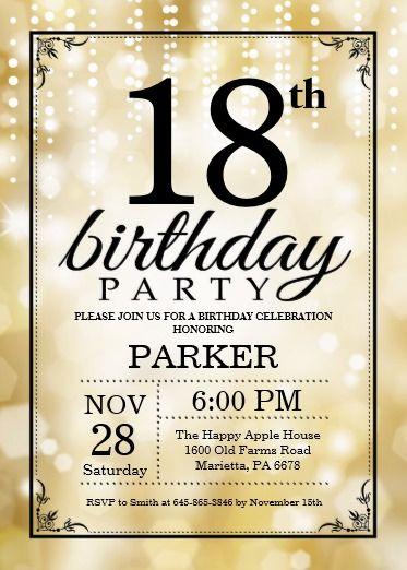 18th Birthday Invitation Gold Glitter