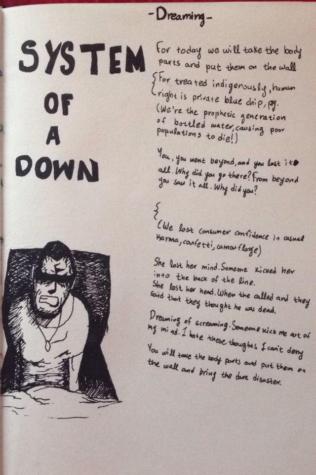 System of a down. Dreaming. Lyrics. Rapidographs. Black ink.