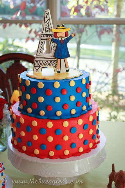 Madeline Cake red yellow blue M&Ms