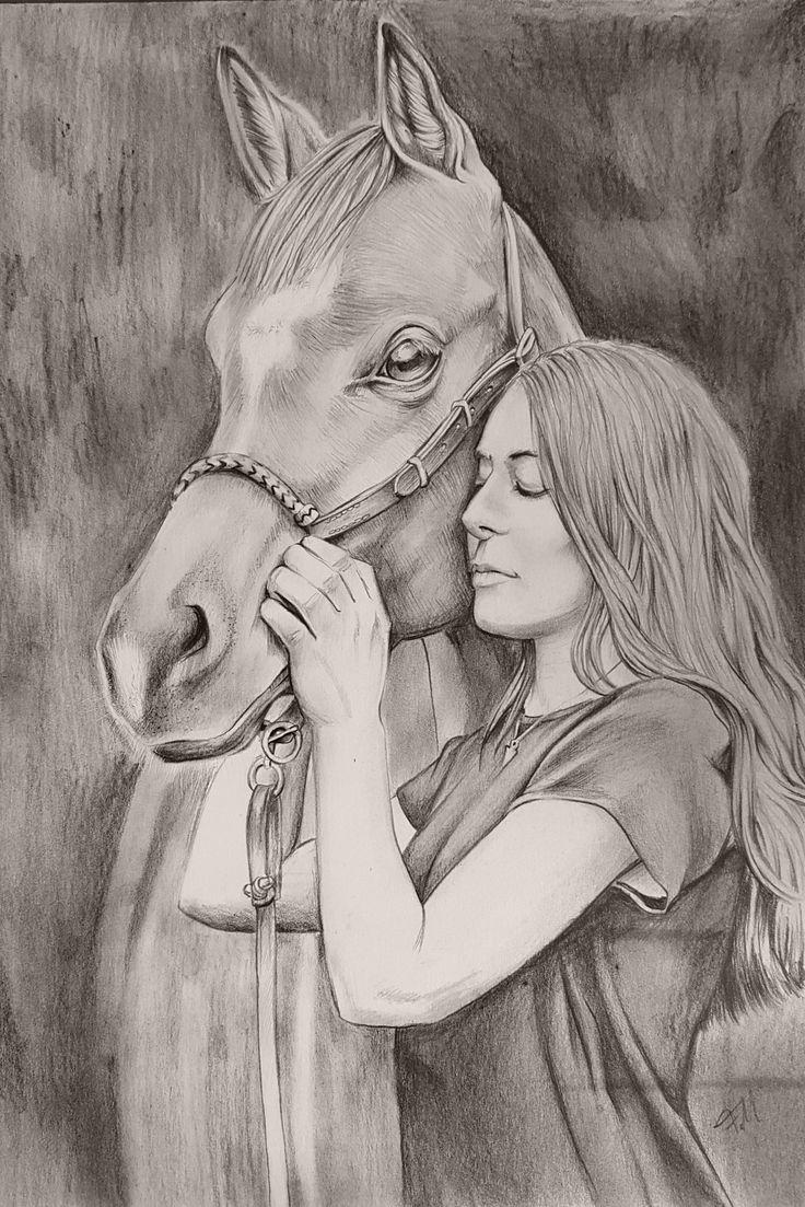 Wundervolle Zeichnung von Pferd und Mädchen bei @…