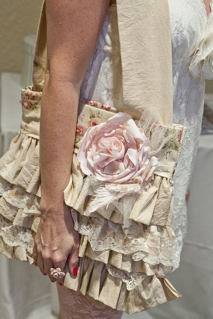 shabby lacy ruffly bag