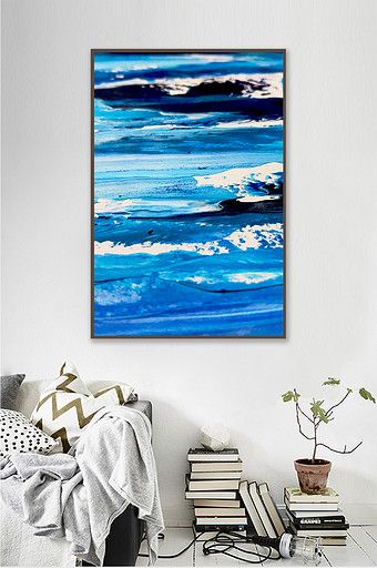 Nordic abstract wave decoration painting background wall frameless painting blue…