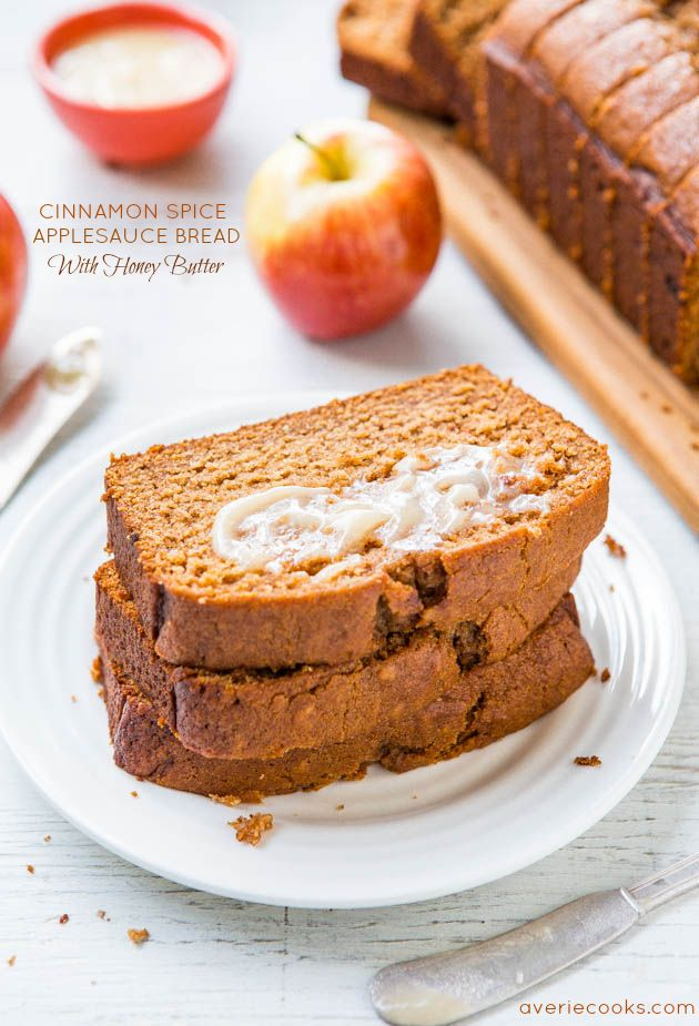 Cinnamon Spice Applesauce Bread with Honey Butter - Applesauce keeps this bread so soft & moist! It's like apple spice cake, disguised as bread! @Averie Sunshine {Averie Cooks}