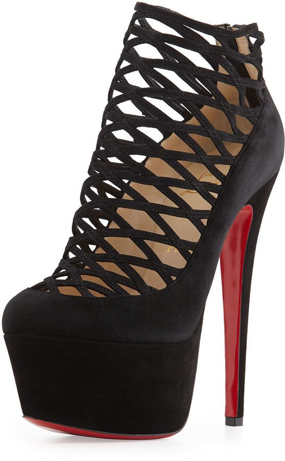 Christian Louboutin Milleo Suede Lattice Red Sole Pump, Black on shopstyle.com