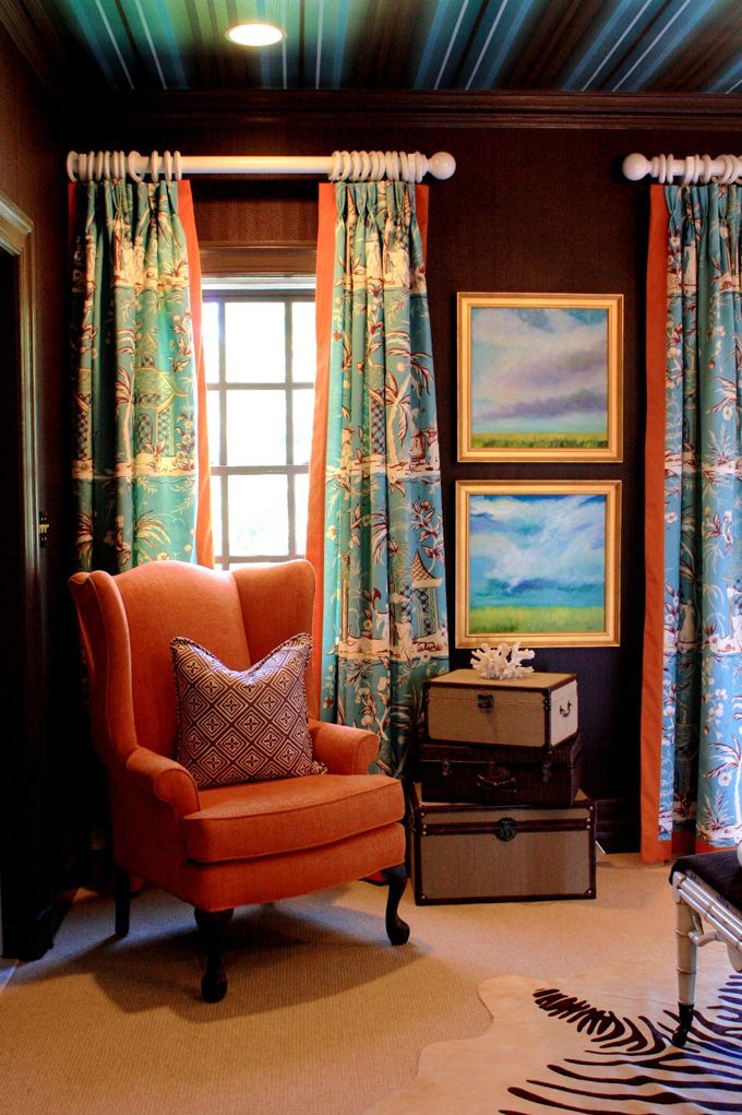 Genial The Turquoise, The Orange, The Accessories, The Brown Walls And The  Fabulous Ceiling. Chocolate WallsOrange ChairsDecor ...