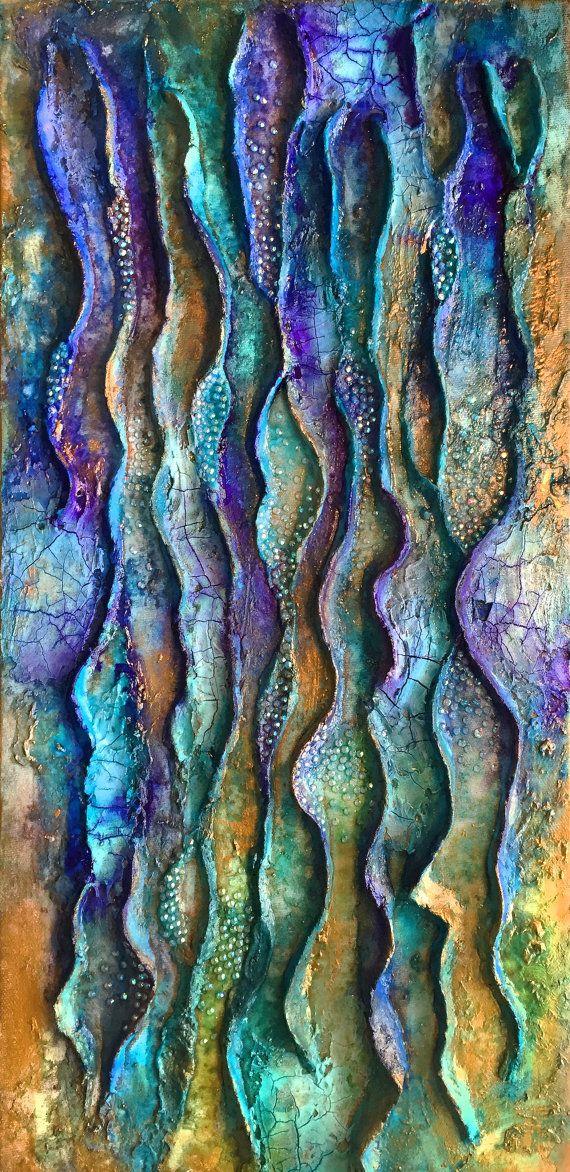 Golden flow, modern abstract painting, mixed media, vertical wall art, wall glass art, gold blue, mixed media
