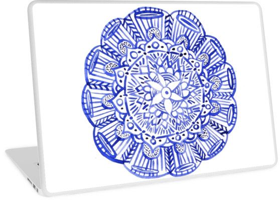 """""""Blue indian mandala"""" Laptop Skins by russiangirl   Redbubble"""