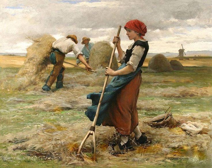 Julien Dupré (Frans kunstenaar, 1851-1910): La recolte des foins (Het oogsten van het hooi) 1881