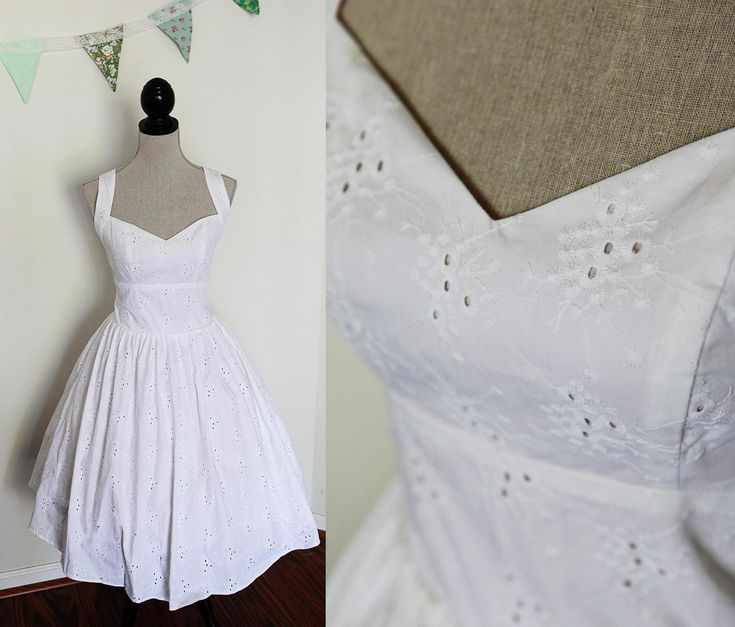 Unique Potential Island reception dress Short Wedding Dress Pin Up Style Cotton Eyelet
