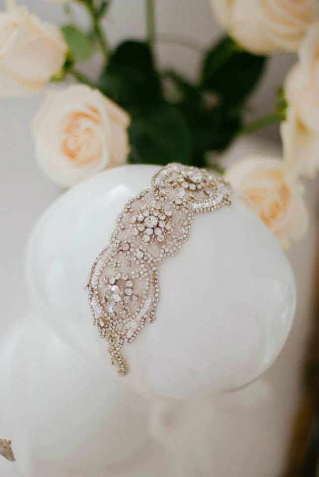 Anna Campbell bridal head piece + Cream Roses in The Babushka Ballerina Bridal Boutique